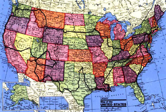 Us map with highways and cities